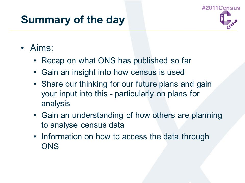#2011Census Summary of the day Aims: Recap on what ONS has published so far Gain an insight into how census is used Share our thinking for our future