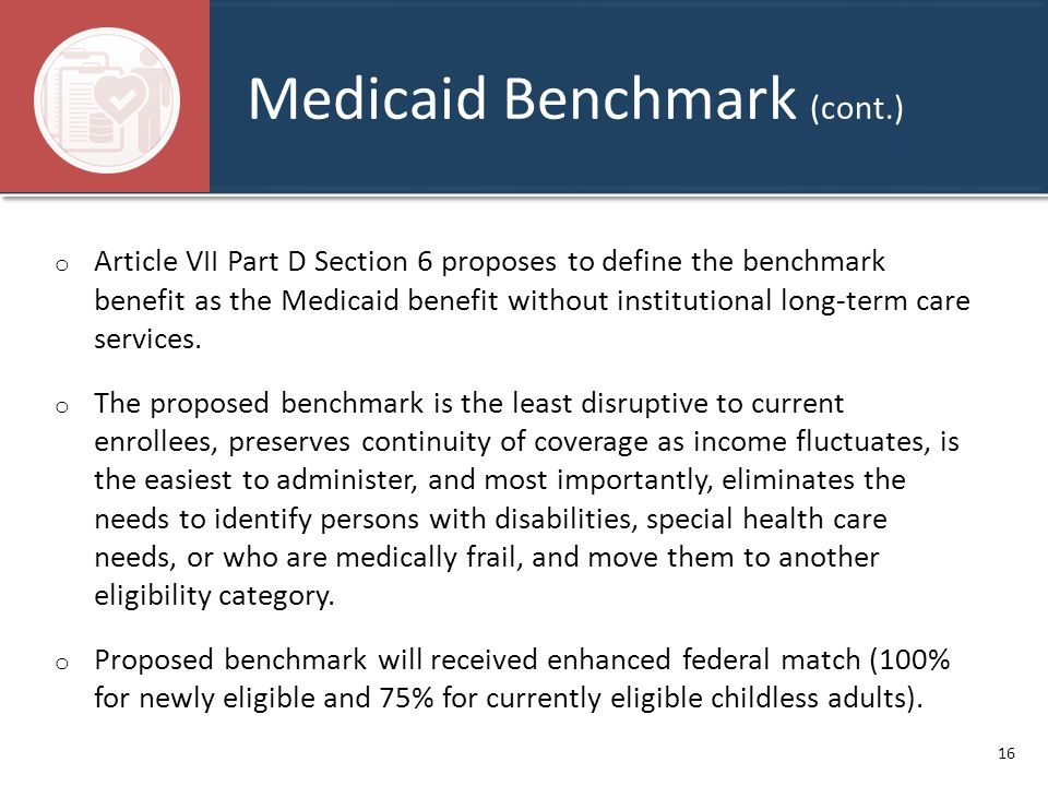 Medicaid Benchmark (cont.) o Article VII Part D Section 6 proposes to define the benchmark benefit as the Medicaid benefit without institutional long-
