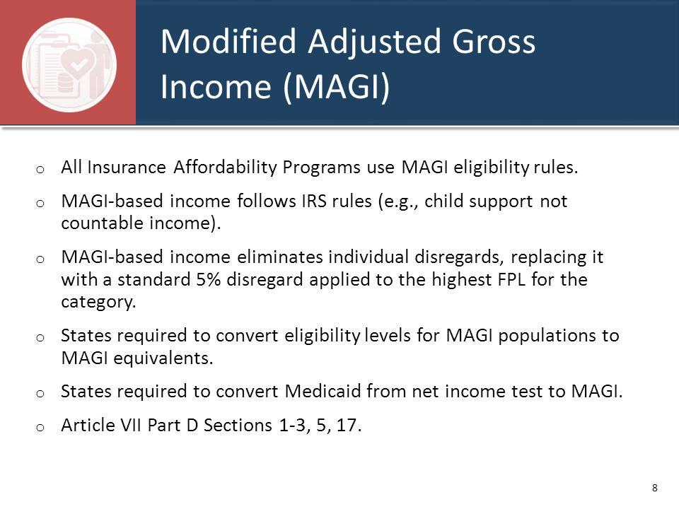 Modified Adjusted Gross Income (MAGI) o All Insurance Affordability Programs use MAGI eligibility rules.