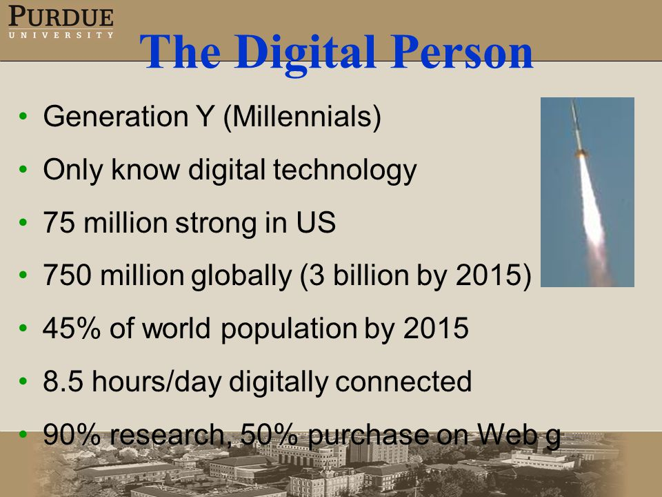 The Digital Person Generation Y (Millennials) Only know digital technology 75 million strong in US 750 million globally (3 billion by 2015) 45% of world population by 2015 8.5 hours/day digitally connected 90% research, 50% purchase on Web g