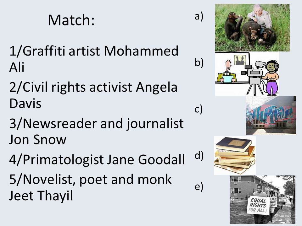 Match: 1/Graffiti artist Mohammed Ali 2/Civil rights activist Angela Davis 3/Newsreader and journalist Jon Snow 4/Primatologist Jane Goodall 5/Novelist, poet and monk Jeet Thayil a) b) c) d) e)