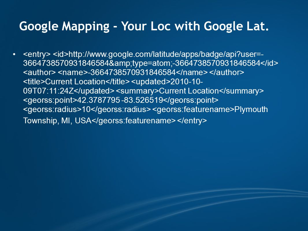 Google Mapping - Your Loc with Google Lat.