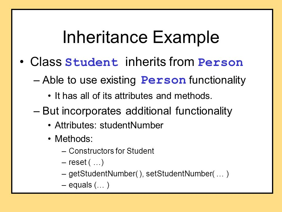 Programming Example Go back to program listing 8.7 class Undergraduate Notice how the writeOutput method invokes the one from its parent class ( Student ).