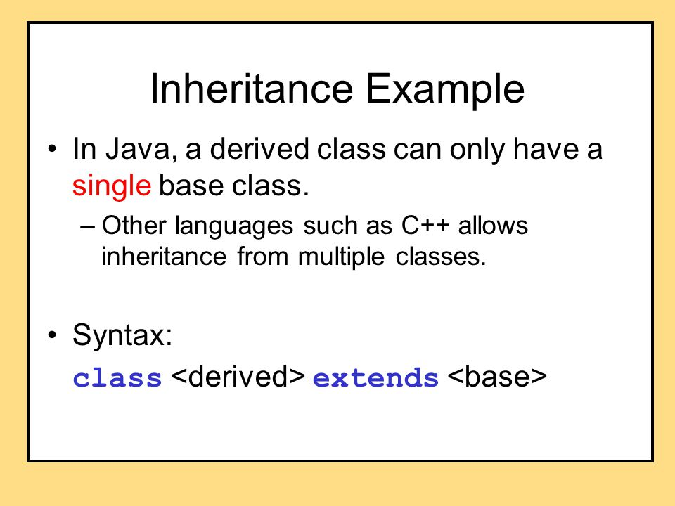 An Example a2 declared as Animal (base class) But created as Cat (derived class) Therefore, late bound to Cat at runtime.