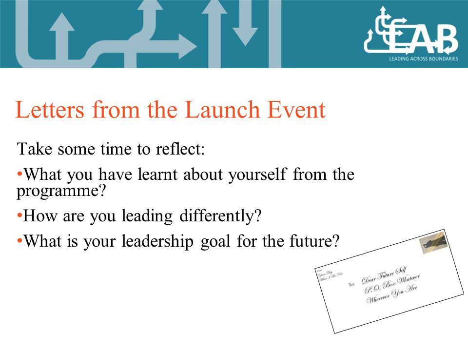 Letters from the Launch Event Take some time to reflect: What you have learnt about yourself from the programme.