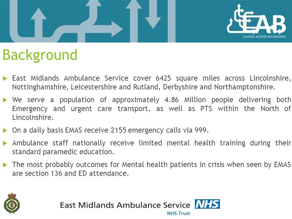 Background  East Midlands Ambulance Service cover 6425 square miles across Lincolnshire, Nottinghamshire, Leicestershire and Rutland, Derbyshire and Northamptonshire.