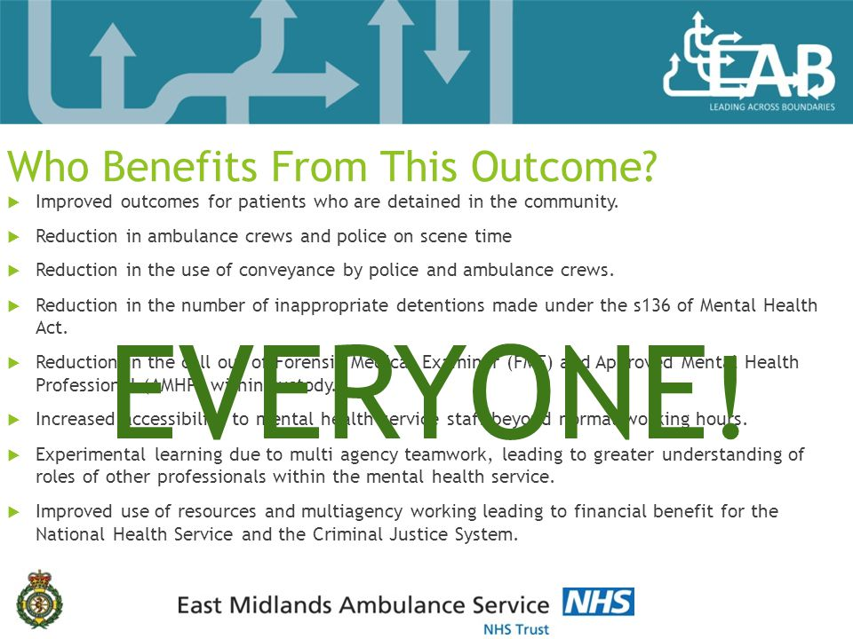 Who Benefits From This Outcome.  Improved outcomes for patients who are detained in the community.