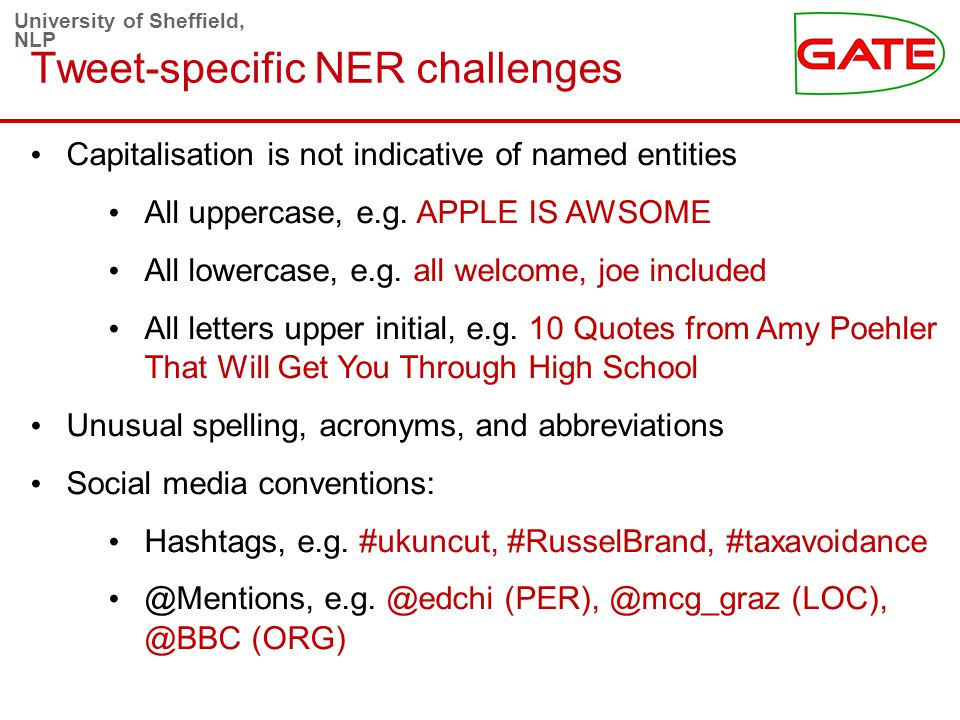 University of Sheffield, NLP Tweet-specific NER challenges Capitalisation is not indicative of named entities All uppercase, e.g.