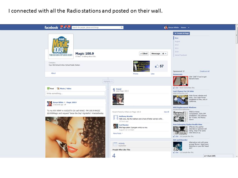 I connected with all the Radio stations and posted on their wall.