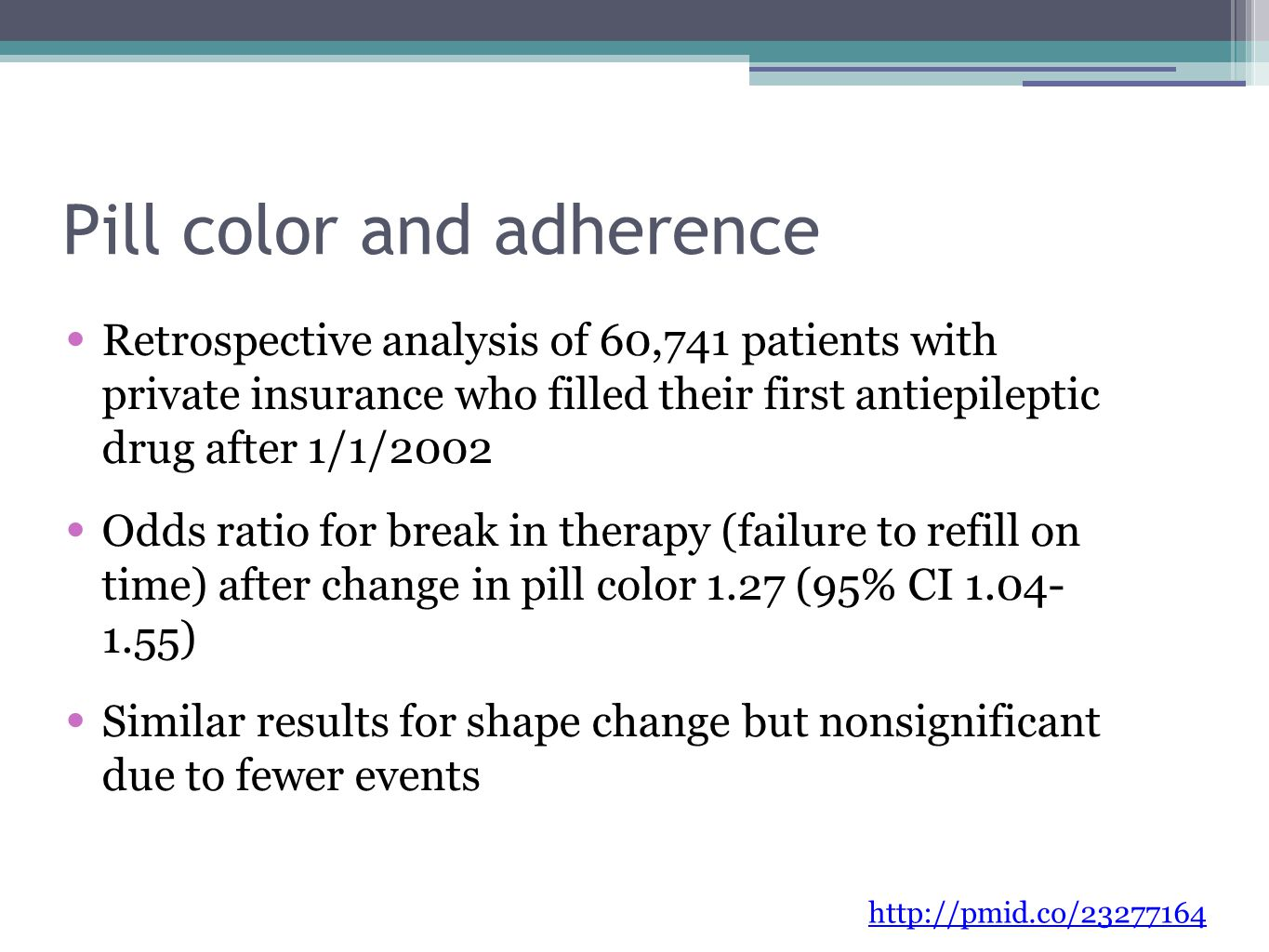Pill color and adherence Retrospective analysis of 60,741 patients with private insurance who filled their first antiepileptic drug after 1/1/2002 Odds ratio for break in therapy (failure to refill on time) after change in pill color 1.27 (95% CI 1.04- 1.55) Similar results for shape change but nonsignificant due to fewer events http://pmid.co/23277164