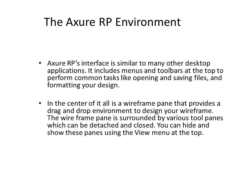 Map of the Axure RP Environment
