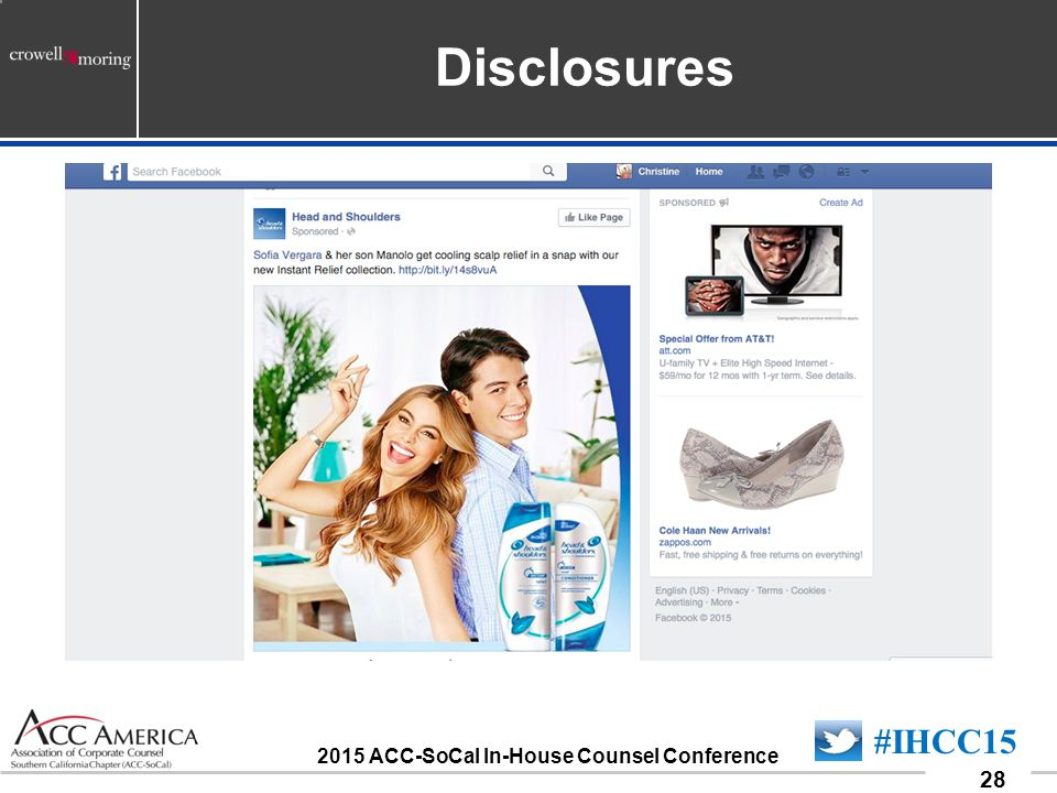 090701_28 28 #IHCC15 2015 ACC-SoCal In-House Counsel Conference Disclosures