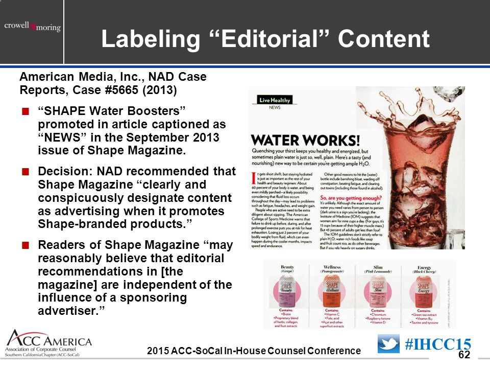 090701_62 62 American Media, Inc., NAD Case Reports, Case #5665 (2013)  SHAPE Water Boosters promoted in article captioned as NEWS in the September 2013 issue of Shape Magazine.