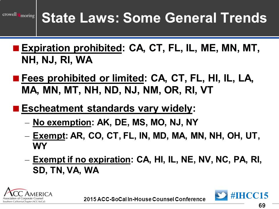 090701_69 69 #IHCC15 2015 ACC-SoCal In-House Counsel Conference State Laws: Some General Trends  Expiration prohibited: CA, CT, FL, IL, ME, MN, MT, NH, NJ, RI, WA  Fees prohibited or limited: CA, CT, FL, HI, IL, LA, MA, MN, MT, NH, ND, NJ, NM, OR, RI, VT  Escheatment standards vary widely: – No exemption: AK, DE, MS, MO, NJ, NY – Exempt: AR, CO, CT, FL, IN, MD, MA, MN, NH, OH, UT, WY – Exempt if no expiration: CA, HI, IL, NE, NV, NC, PA, RI, SD, TN, VA, WA