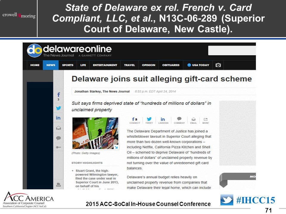 090701_71 71 #IHCC15 2015 ACC-SoCal In-House Counsel Conference State of Delaware ex rel.