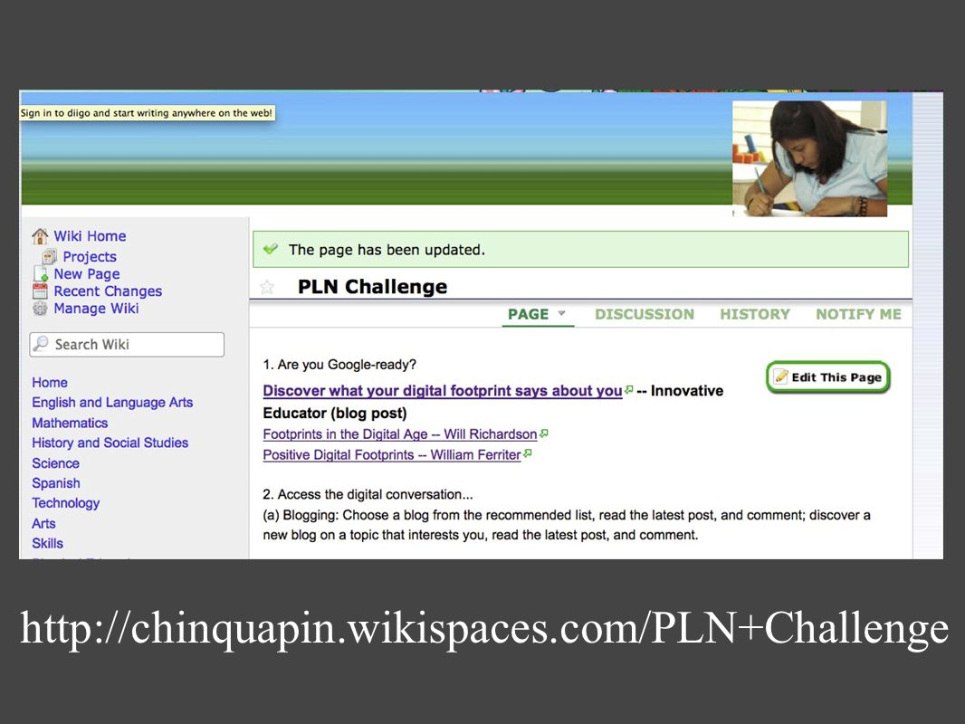 http://chinquapin.wikispaces.com/PLN+Challenge