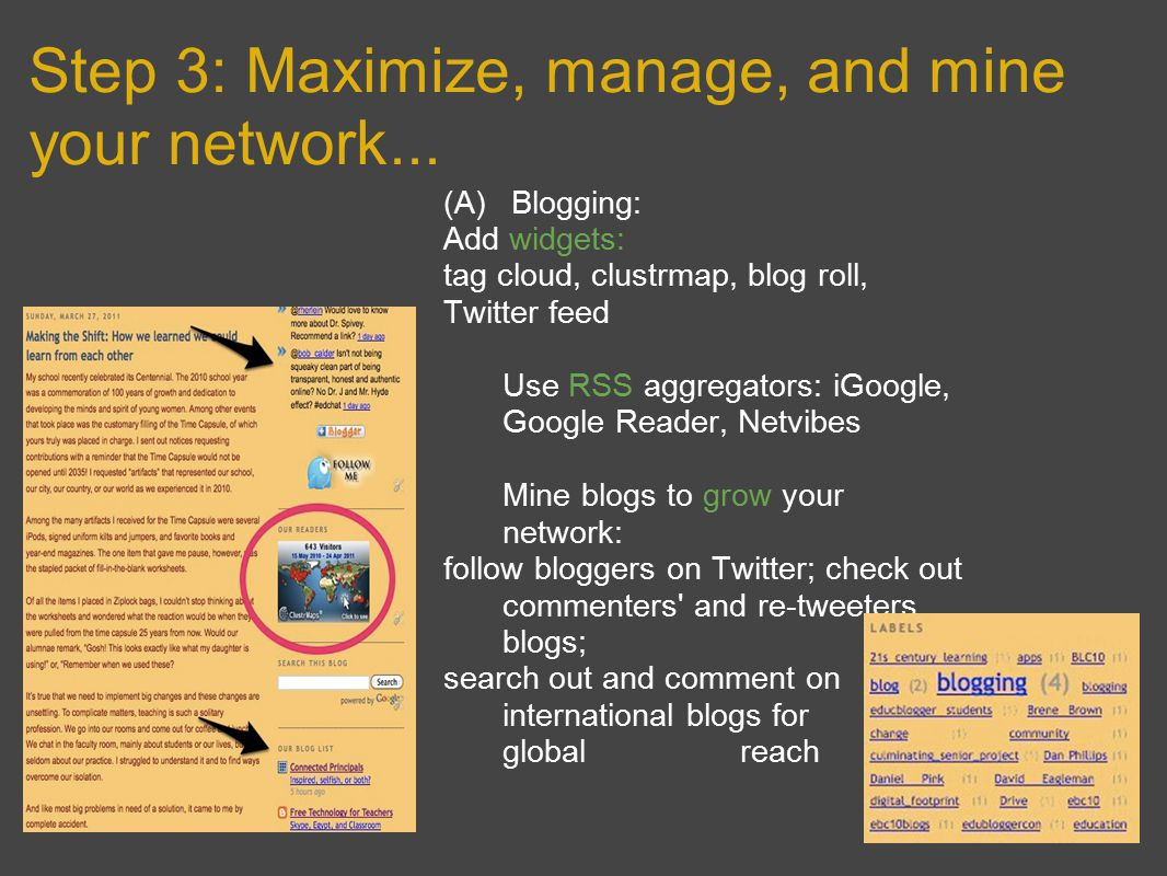 Step 3: Maximize, manage, and mine your network...