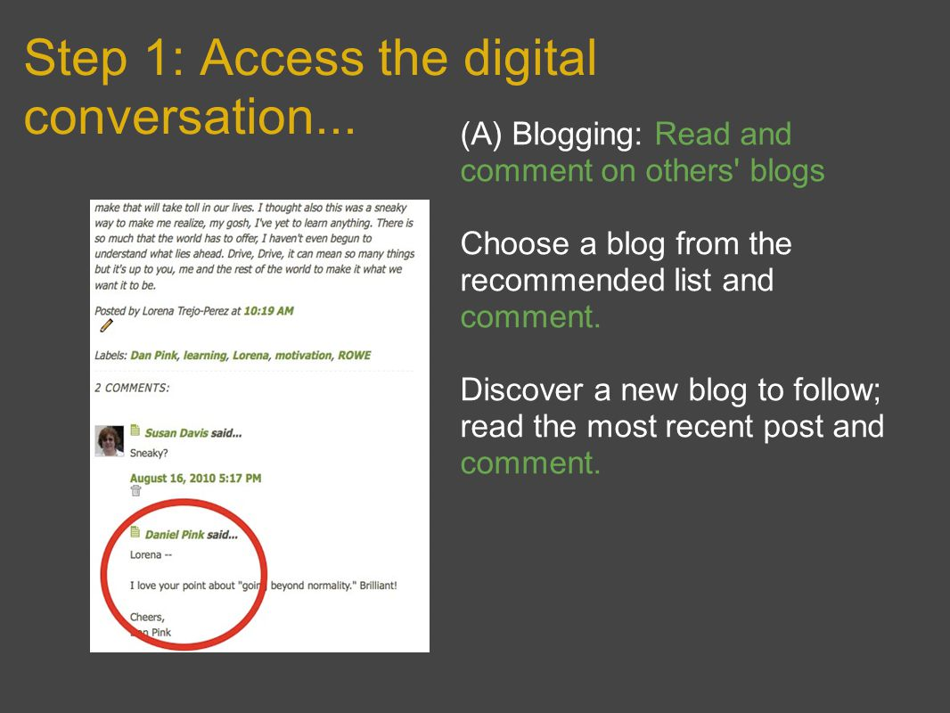 Step 1: Access the digital conversation… (B) Tweeting: Start following people.