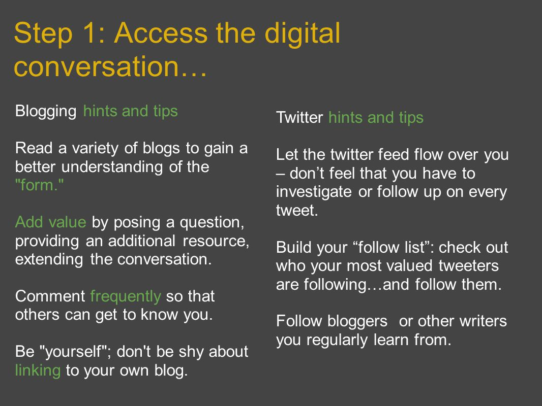Step 1: Access the digital conversation… Blogging hints and tips Read a variety of blogs to gain a better understanding of the form. Add value by posing a question, providing an additional resource, extending the conversation.