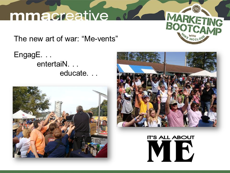 The new art of war: Me-vents EngagE... entertaiN... educate...