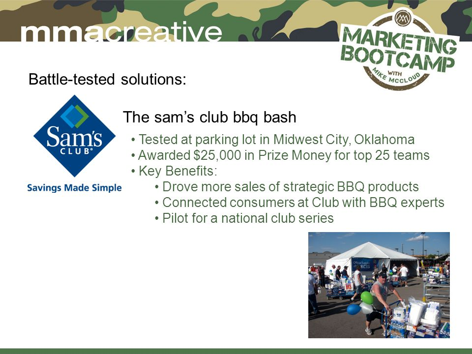 Battle-tested solutions: The sam's club bbq bash Tested at parking lot in Midwest City, Oklahoma Awarded $25,000 in Prize Money for top 25 teams Key Benefits: Drove more sales of strategic BBQ products Connected consumers at Club with BBQ experts Pilot for a national club series