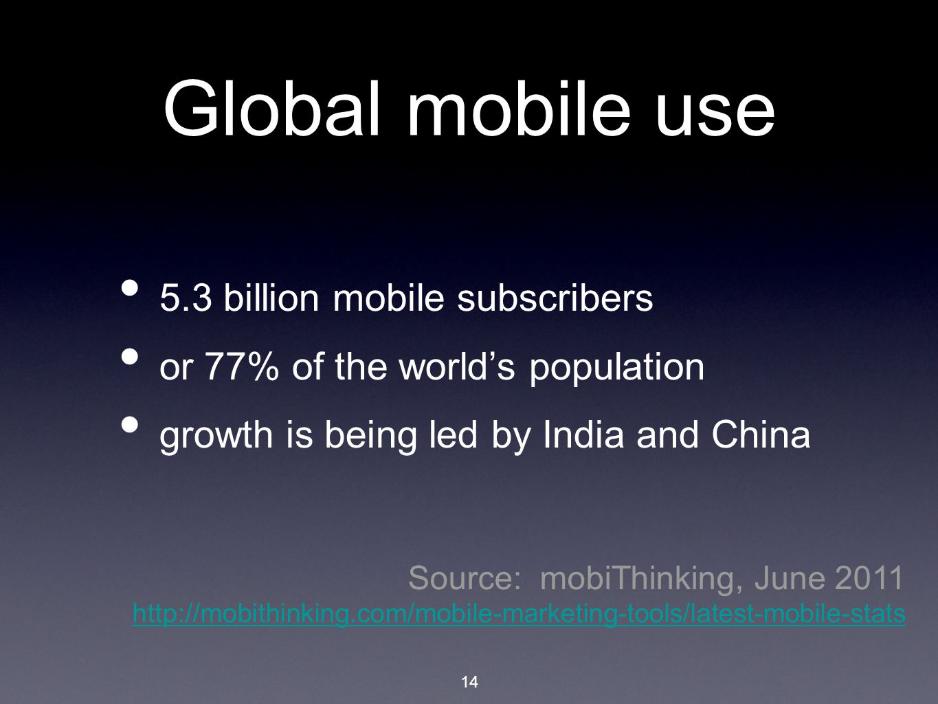 Global mobile use 5.3 billion mobile subscribers or 77% of the world's population growth is being led by India and China Source: mobiThinking, June 2011 http://mobithinking.com/mobile-marketing-tools/latest-mobile-stats http://mobithinking.com/mobile-marketing-tools/latest-mobile-stats 14
