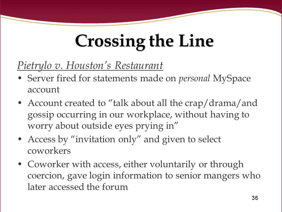 36 Crossing the Line Pietrylo v.