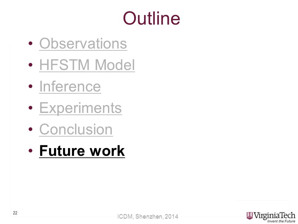 ICDM, Shenzhen, 2014 Outline Observations HFSTM Model Inference Experiments Conclusion Future work 22