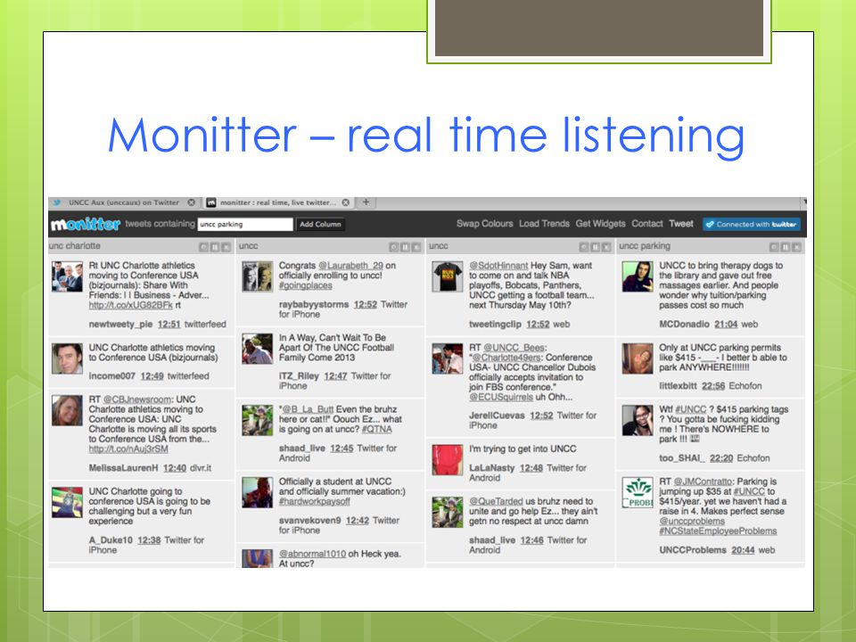 Monitter – real time listening