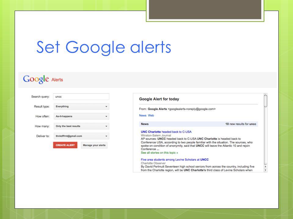Set Google alerts