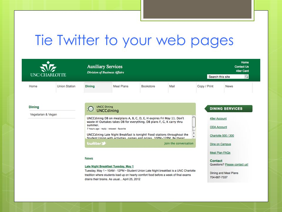 Tie Twitter to your web pages