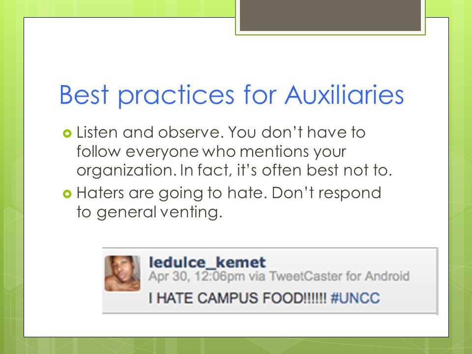 Best practices for Auxiliaries  Listen and observe.