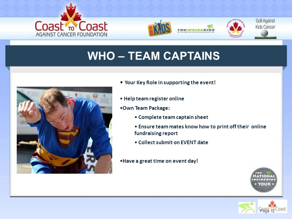 WHO – TEAM CAPTAINS Your Key Role in supporting the event.