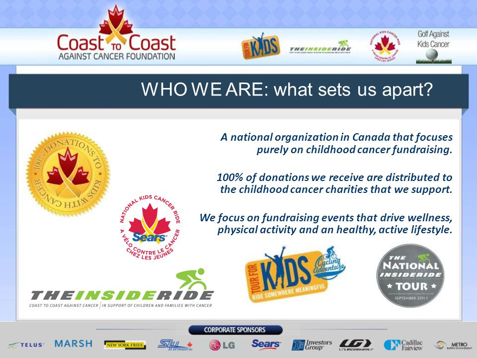 A national organization in Canada that focuses purely on childhood cancer fundraising.