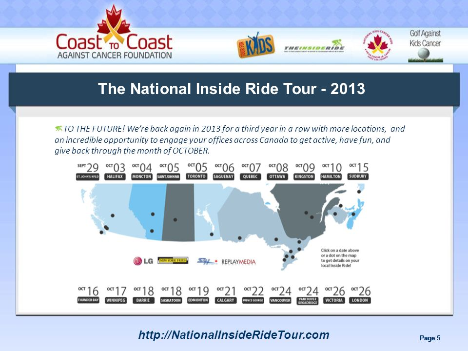 Page 5 The National Inside Ride Tour - 2013 TO THE FUTURE.