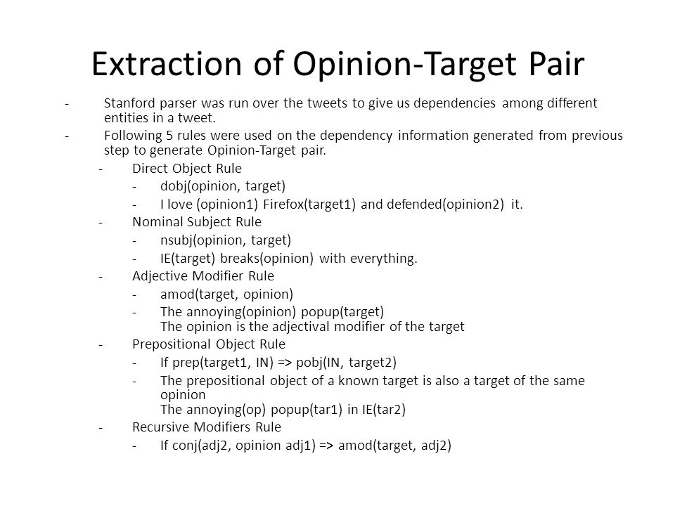 Extraction of Opinion-Target Pair -Stanford parser was run over the tweets to give us dependencies among different entities in a tweet.