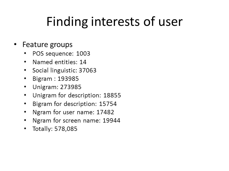 Finding interests of user Feature groups POS sequence: 1003 Named entities: 14 Social linguistic: 37063 Bigram : 193985 Unigram: 273985 Unigram for description: 18855 Bigram for description: 15754 Ngram for user name: 17482 Ngram for screen name: 19944 Totally: 578,085