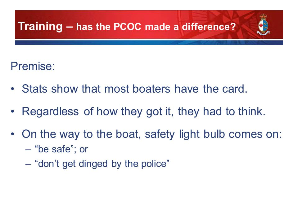 Premise: Stats show that most boaters have the card.