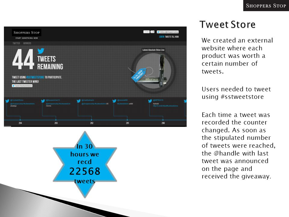We created an external website where each product was worth a certain number of tweets. Users needed to tweet using #sstweetstore Each time a tweet wa