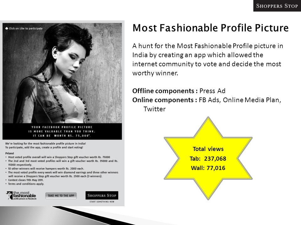 Most Fashionable Profile Picture A hunt for the Most Fashionable Profile picture in India by creating an app which allowed the internet community to vote and decide the most worthy winner.