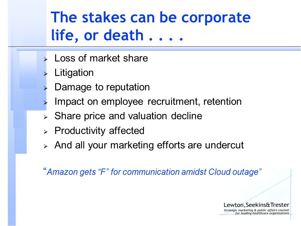 The stakes can be corporate life, or death....