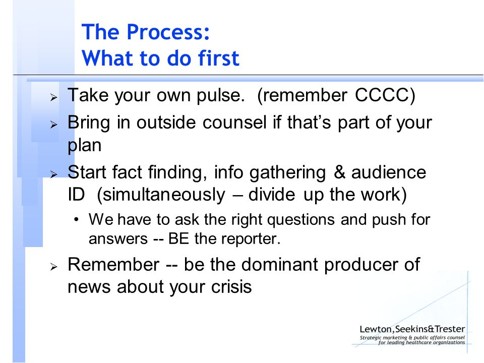 The Process: What to do first  Take your own pulse.