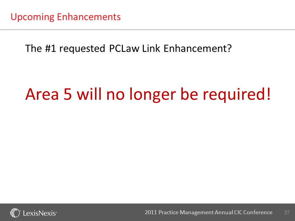 27 2011 Practice Management Annual CIC Conference Upcoming Enhancements The #1 requested PCLaw Link Enhancement.