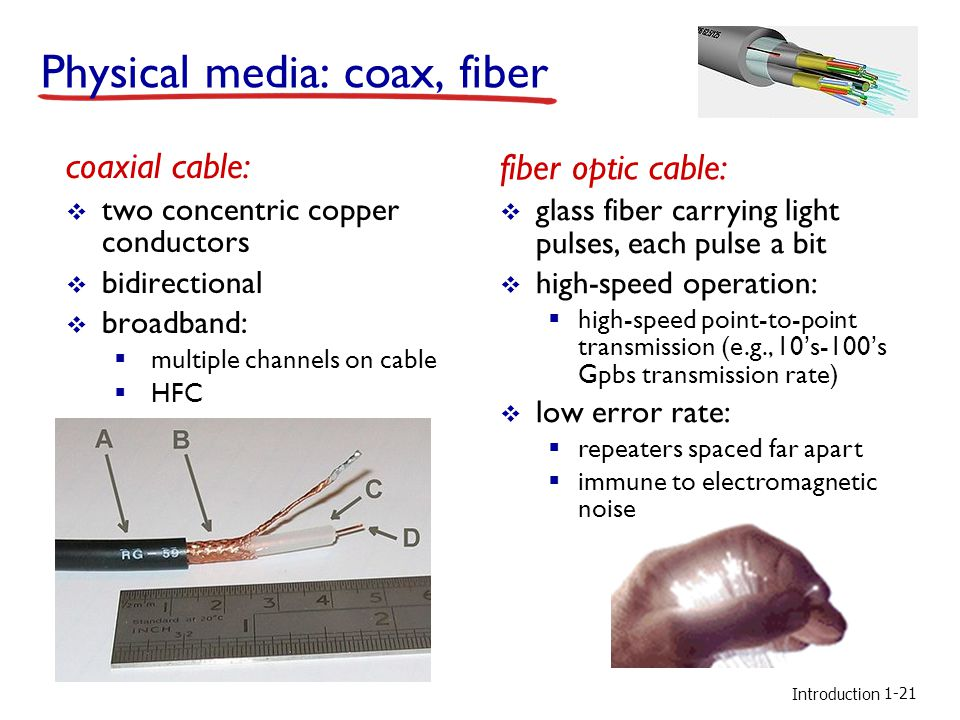 Introduction Physical media: coax, fiber coaxial cable:  two concentric copper conductors  bidirectional  broadband:  multiple channels on cable  HFC fiber optic cable:  glass fiber carrying light pulses, each pulse a bit  high-speed operation:  high-speed point-to-point transmission (e.g., 10's-100's Gpbs transmission rate)  low error rate:  repeaters spaced far apart  immune to electromagnetic noise 1-21