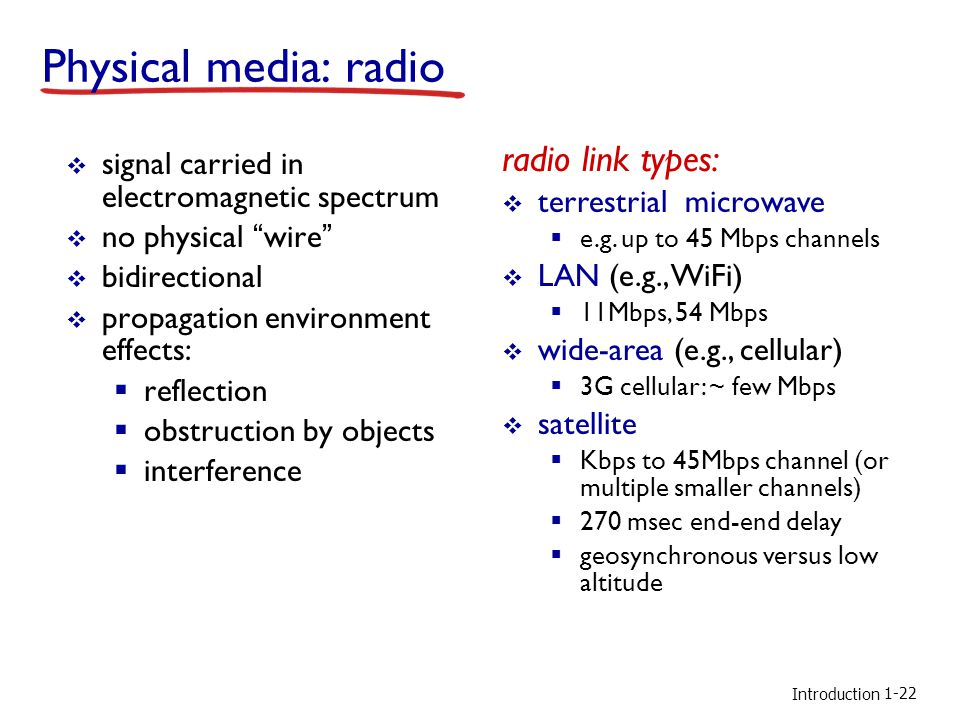 Introduction Physical media: radio  signal carried in electromagnetic spectrum  no physical wire  bidirectional  propagation environment effects:  reflection  obstruction by objects  interference radio link types:  terrestrial microwave  e.g.