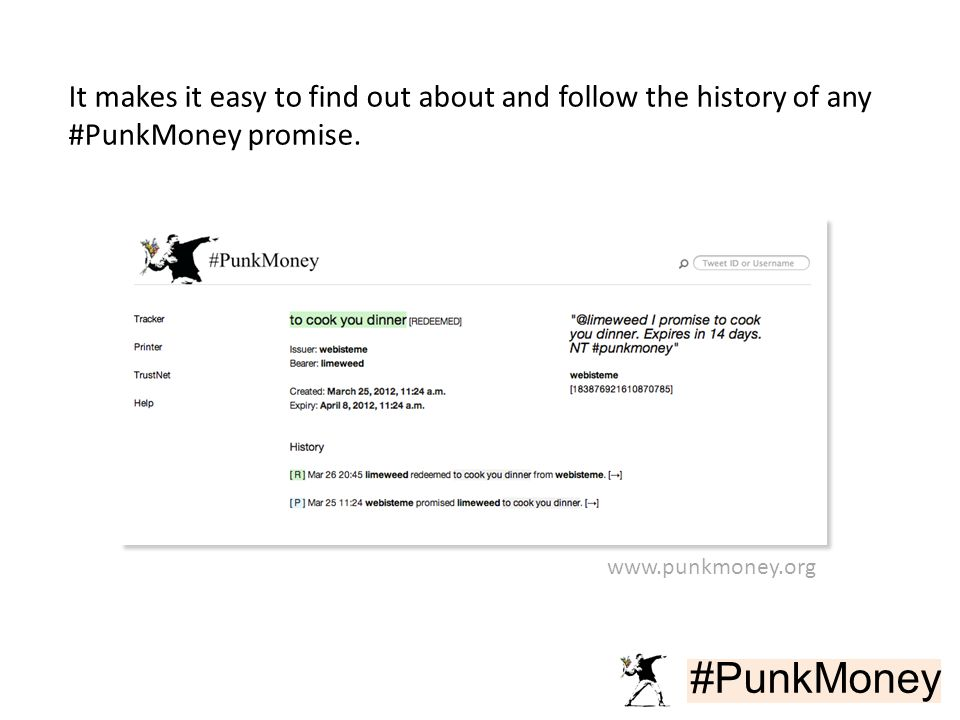#PunkMoney It makes it easy to find out about and follow the history of any #PunkMoney promise.