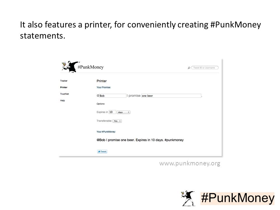 #PunkMoney It also features a printer, for conveniently creating #PunkMoney statements. www.punkmoney.org