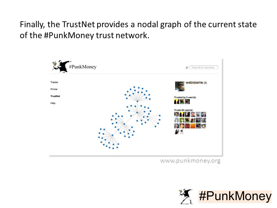 #PunkMoney Finally, the TrustNet provides a nodal graph of the current state of the #PunkMoney trust network.
