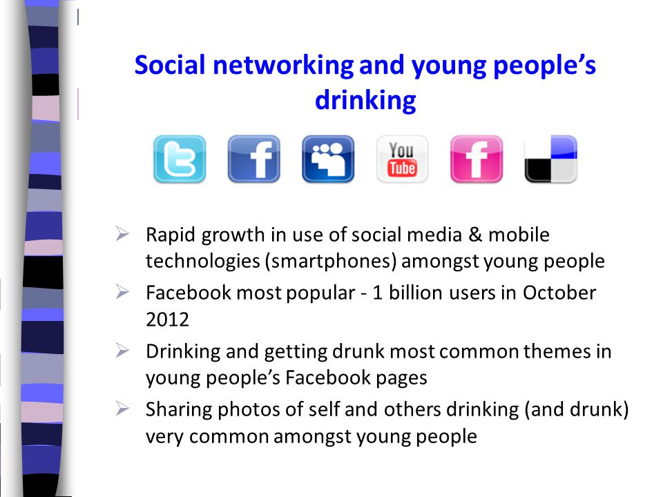 Social networking and young people's drinking  Rapid growth in use of social media & mobile technologies (smartphones) amongst young people  Faceboo