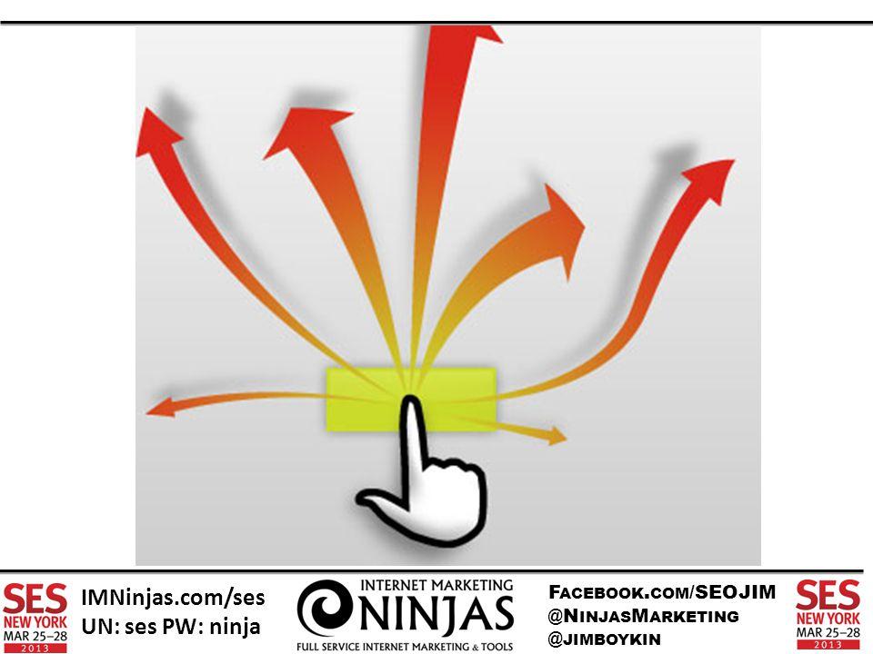 F ACEBOOK. COM /SEOJIM @N INJAS M ARKETING @ JIMBOYKIN IMNinjas.com/ses UN: ses PW: ninja